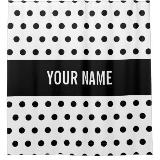Classy Striped Custom Name Black & White Polka Dot Shower Curtain
