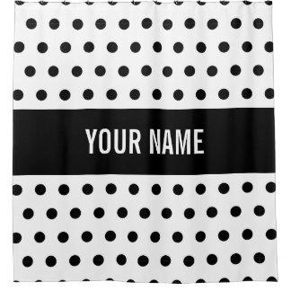 Classy Striped Custom Name Black U0026amp; White Polka Dot Shower Curtain