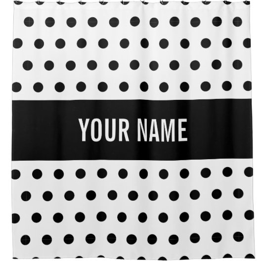 Classy Striped Custom Name Black White Polka Dot Shower Curtain
