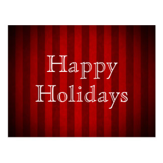 Classy stripes in red Happy Holidays Postcard