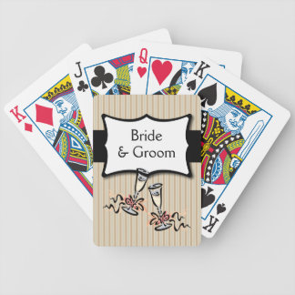 Classy Stripes Personalized Wedding Favor Bicycle Playing Cards