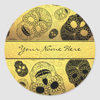 Classy Stylish Gold & Black Sugar Skulls with Name Classic Round Sticker