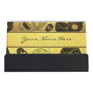 Classy Stylish Gold & Black Sugar Skulls with Name Desk Business Card Holder