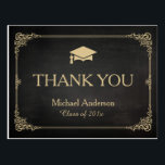 "Classy Stylish Gold Grad Cap Graduation Thank You Postcard<br><div class=""desc"">Classy Stylish Gold Grad Cap Graduation Thank You Postcard.  (1) For further customization,  please click the &quot;customize further&quot; link and use our design tool to modify this template.  (2) If you need help or matching items,  please contact me.</div>"