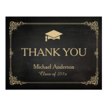 Classy Stylish Gold Grad Cap Graduation Thank You Postcard