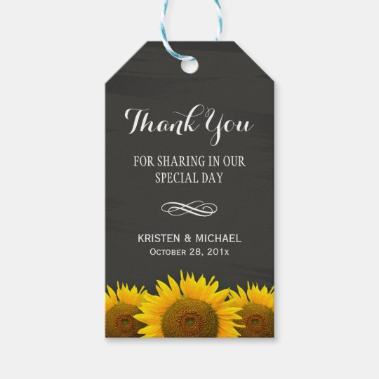 Wedding Thank You Gift Tags: Classy Sunflowers Chalkboard Wedding Thank You Gift Tags