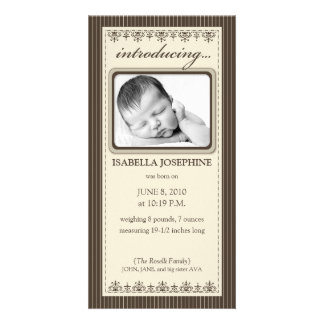 Classy Taupe Customized Birth Announcement