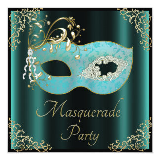 Classy Teal and Black Mask Masquerade Party Card