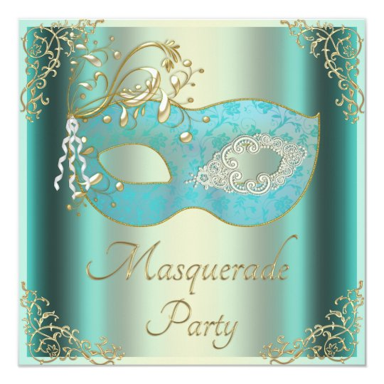 Classy Teal Gold Flourishes Mask Masquerade Party Card