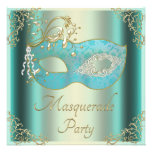 Classy Teal Gold Flourishes Mask Masquerade Party Custom Invites