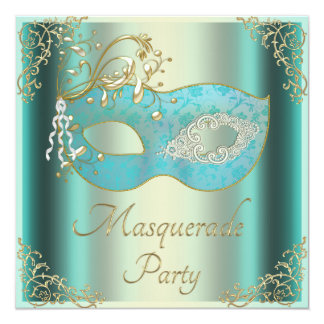 """Classy Teal Gold Flourishes Mask Masquerade Party 5.25"""" Square Invitation Card"""