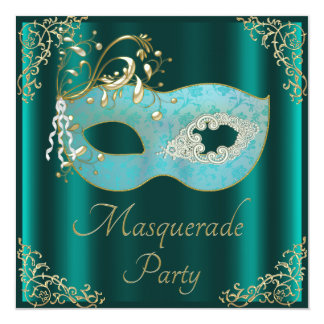 Classy Teal Mask Masquerade Party Card