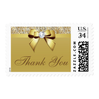 Classy Thank You Gold Sequins Bow Postage