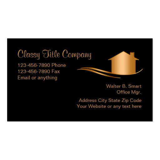 Classy title company business card zazzle for Business development titles for business cards