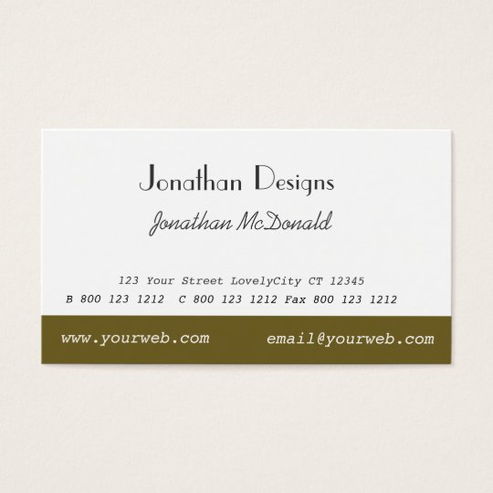 Classy Traditional Custom Unique Plain Modern Business Card