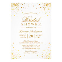 Classy Trendy Gold Confetti Dots Bridal Shower Card