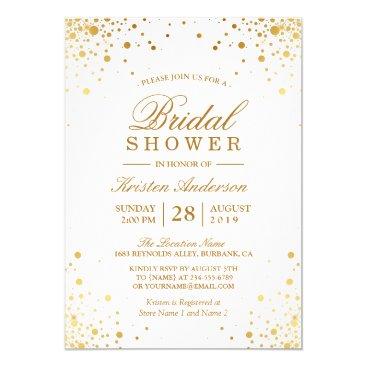 CardHunter Classy Trendy Gold Confetti Dots Bridal Shower Card