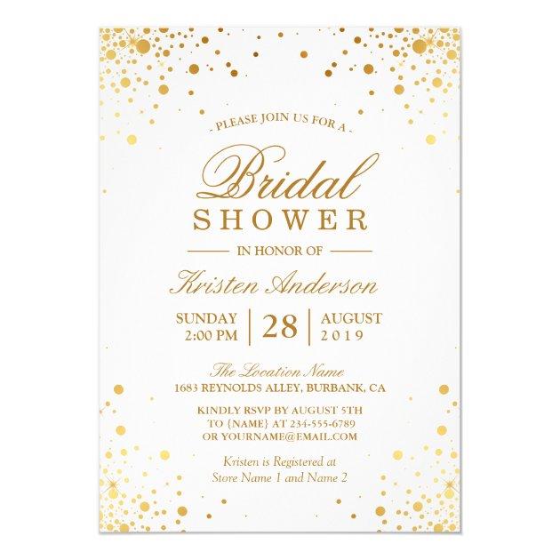 Classy Trendy Gold Confetti Dots Bridal Shower Card