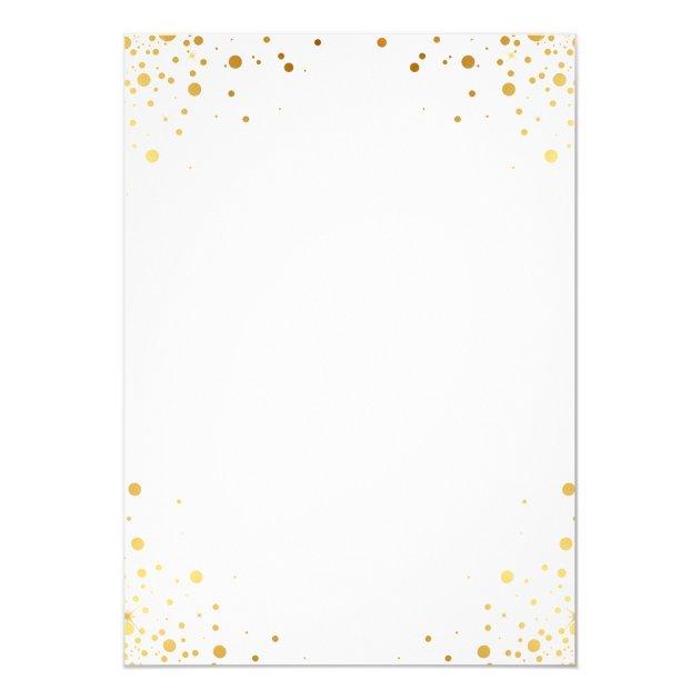 Classy Trendy Gold Confetti Dots Bridal Shower Card (back side)