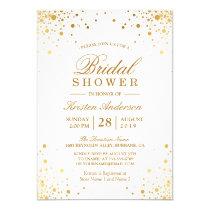 Classy Trendy Gold Confetti Dots Bridal Shower Invitation