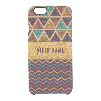 Classy Triangles Chevrons Faux Gold Foil Glitter Clear iPhone 6/6S Case
