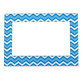 Classy Turquoise Blue and White Zigzag Custom Magnetic Picture Frame