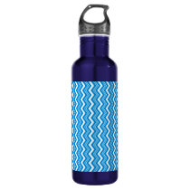 Classy Turquoise Blue and White Zigzag Pattern Stainless Steel Water Bottle
