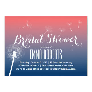 Classy Twilight Dandelion Blowing Bridal Shower Card