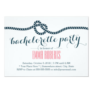 Classy Tying the Knot Bachelorette Party Card