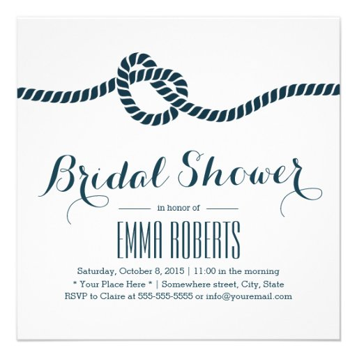 Classy Tying the Knot Bridal Shower Invitations