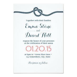 "Classy Tying the Knot Wedding Invitations 5"" X 7"" Invitation Card"