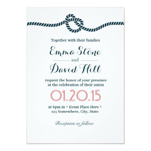Classy tying the knot wedding invitations zazzle for The knot wedding invitation language