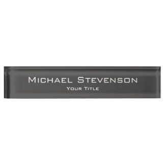 Classy Unique Grey Trendy Elegant Desk Nameplate