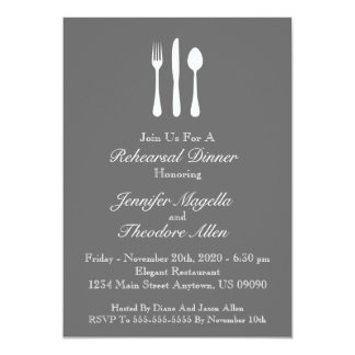 "Classy Utensils Rehearsal Dinner Invite (Gray) 5"" X 7"" Invitation Card"