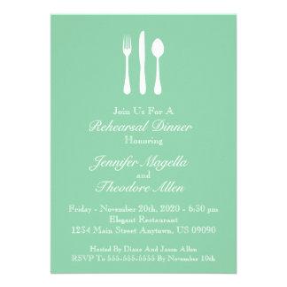 Classy Utensils Rehearsal Dinner Invite (Green)