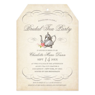 Party invitations announcements zazzle classy vintage bridal tea party bridal shower card stopboris Gallery