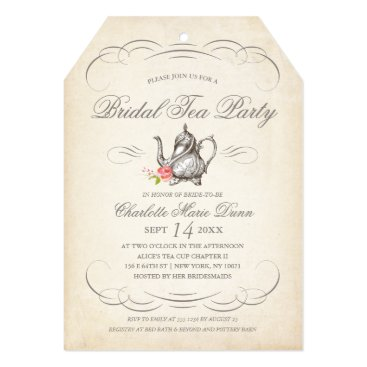 NBpaperco Classy Vintage Bridal Tea Party | Bridal Shower Card