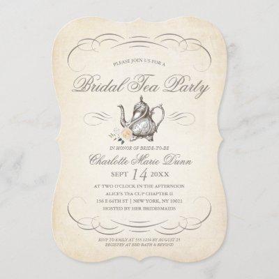 Classy Vintage Bridal Tea Party   Bridal Shower Invitation
