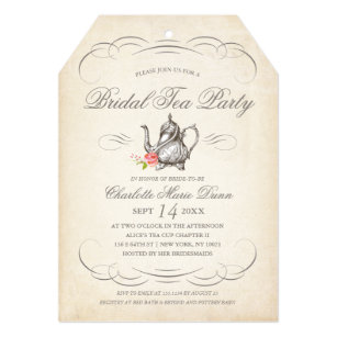 classy vintage bridal tea party bridal shower invitation