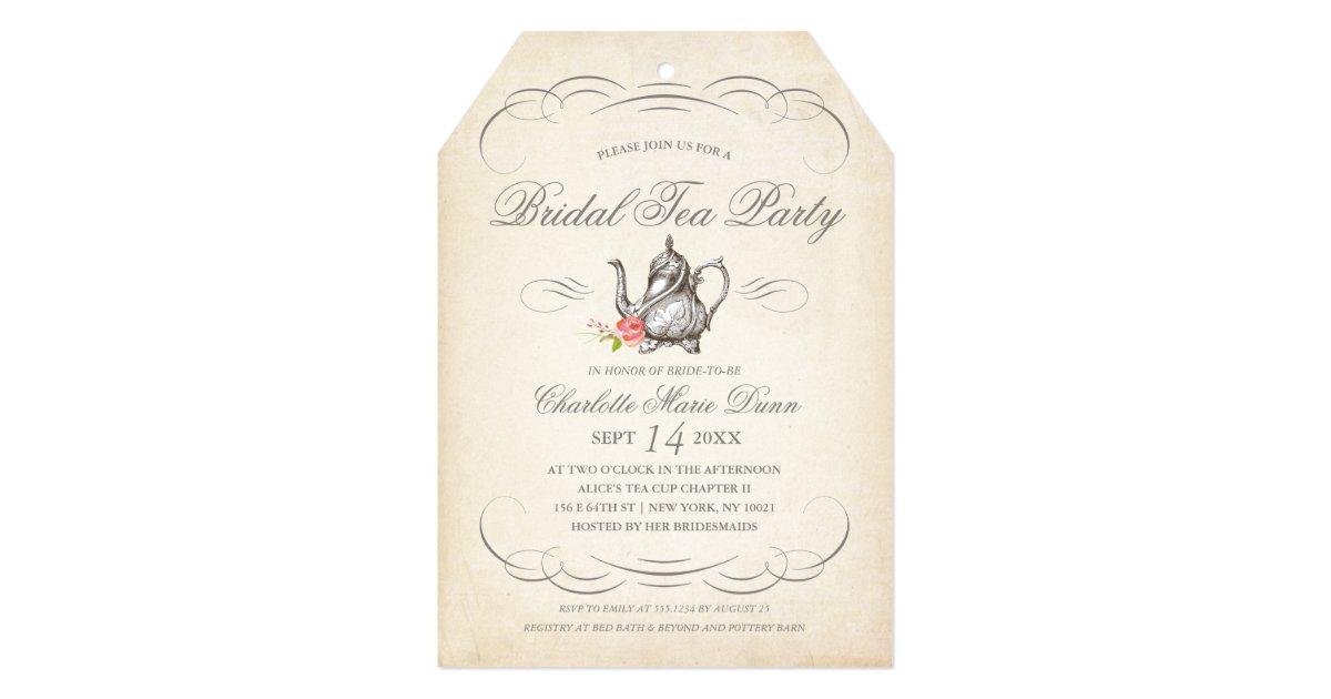 Vintage Tea Party Wedding Invitations: Classy Vintage Bridal Tea Party