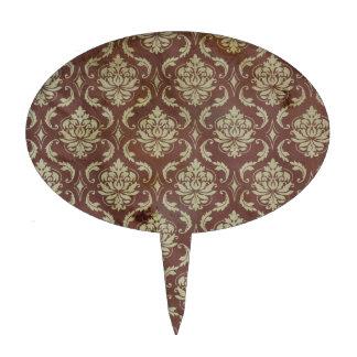 Classy vintage damask wallpaper pattern cake topper