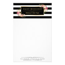 Classy Vintage Floral Gold Black White Stripes Stationery