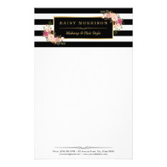 Classy Vintage Floral Gold Black White Stripes Stationery at Zazzle