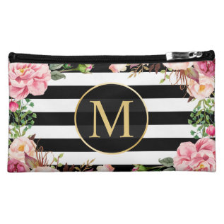 Classy Vintage Floral Monogram Black White Stripes Makeup Bag at Zazzle
