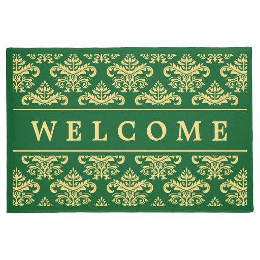 Classy Vintage Gold Green Damask Welcome Home Doormat Zazzle