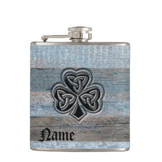 Classy vintage Irish lucky shamrock personalized Flask