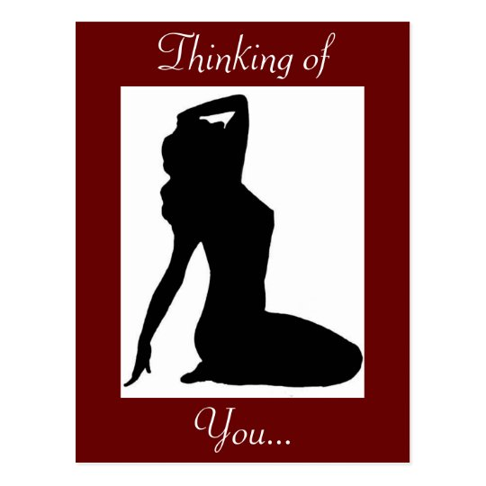 Classy Vintage Pin Up Woman Silhouette Postcard