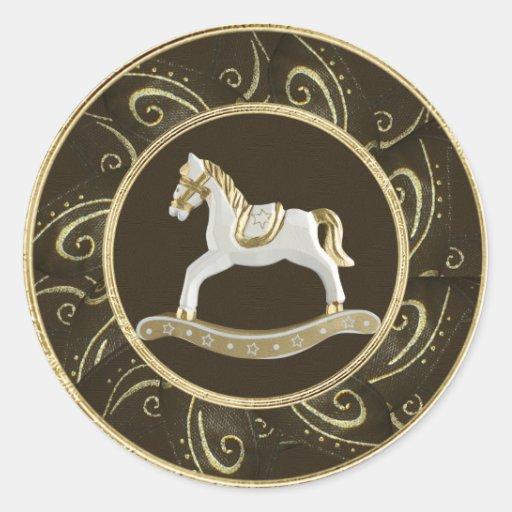 Classy Vintage Rocking Horse Festive Stickers