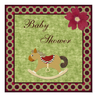 Classy Vintage Rocking Horse Polka Dot Baby Shower 5.25x5.25 Square Paper Invitation Card