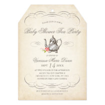 Classy Vintage Tea Party | Baby Shower Card